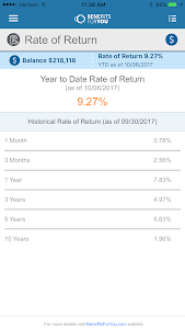 screenshot of BenefitsForYou Retirement version Varies with device