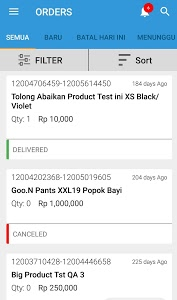 screenshot of Blibli Seller App version 3.28.0