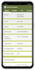 screenshot of Device Information Software & Hardware version 1.0