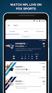 screenshot of FOX Sports: Live Streaming, Scores & News version 4.4.16