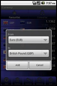 screenshot of Forex Currency Rates version 2.0.25