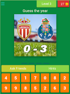 screenshot of Guess the year of UEFA Champions League finals version 4.6.0z