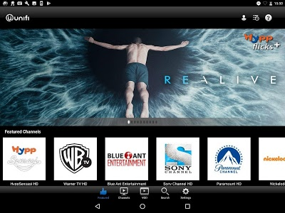screenshot of playtv@unifi (tablet) version Varies with device