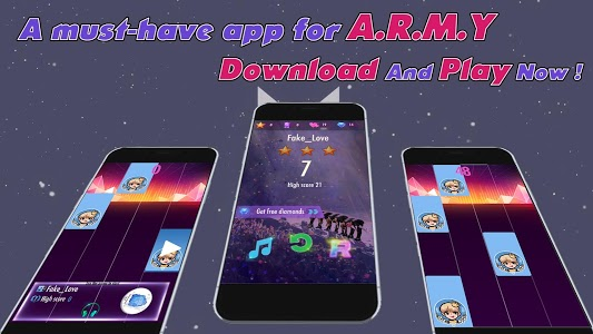 screenshot of Piano Tiles BTS 2019 - ARMY Love BTS version 1.15