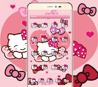 screenshot of Pink Bowknot Princess Kitty Theme version 1.1.5