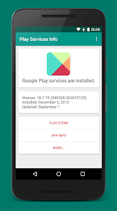 screenshot of Play Services Info (Update) version Varies with device