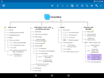 screenshot of SimpleMind Pro mind mapping version 1.12.1