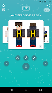screenshot of Skins YouTubers for Minecraft PE version 1.1