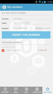 screenshot of Tele0 - additional/temporary phone number version 1.9.0