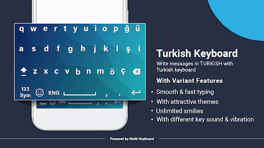 screenshot of Turkish keyboard:Turkish keypad 2019 version 1.1