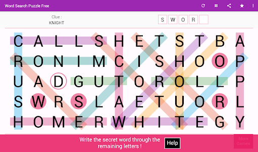 screenshot of Word Search version 6.0