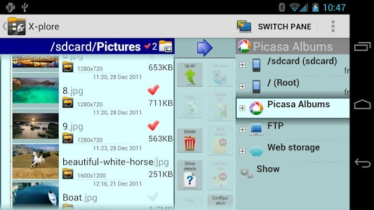screenshot of X-plore File Manager version 3.77.01