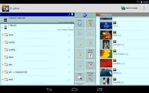 screenshot of X-plore File Manager version 3.81.05