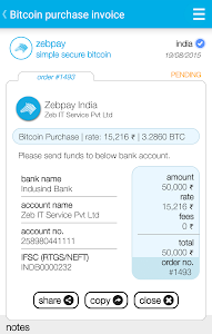 screenshot of Zebpay Bitcoin Wallet India version 1.0.74